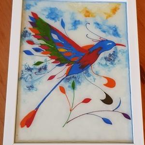 Páva, az örök élet madara, Otthon & lakás, Dekoráció, Dísz, Kép, Üvegművészet, 18x24 cm méretű, üvegre kézzel festett festmény egy páváról. \nA páva az örök életet szimbolizálja. A..., Meska