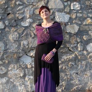Lila nuno nemez bolero, Ruha & Divat, Női ruha, Bolero, Nemezelés, Lila merinói gyapjú és mintás gézanyag nászából született ez a különleges, alkalmi bolero. Hátul meg..., Meska