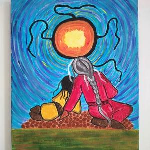 Apa és fia, 30 x 24 cm, Művészet, Festmény, Akril, Festészet, Apa és fia, saját kézzel készített, színes akril festmény, 30 x 24 cm, vászon vakrámán.\nA szokásos m..., Meska