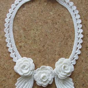 Rózsanyaklánc - horgolt ékszer - horgolt nyaklánc - esküvői nyaklánc, Ékszer, Esküvő, Nyaklánc, Esküvői ékszer, Rózsanyaklánc  - esküvői nyaklánc - gondos ír horgolással készült egyedi darab.  Kézimunka 1-es horg..., Meska