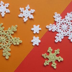 Horgolt hópihék, Otthon & lakás, Karácsony, Dekoráció, Ünnepi dekoráció, Karácsonyi dekoráció, Gondos kézimunkával készített horgolt hópihék. Alkalmas felcérnázva ablakdísznek, karácsonyfadísznek..., Meska