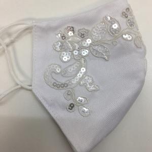 Menyasszonyi szájmaszk, Esküvő, Ruha, Esküvői maszk, , Ha már muszáj,legalább legyen szép és stílusos.\nA maszkok szaténból,tüllből,csipke rátéttel készülte..., Meska