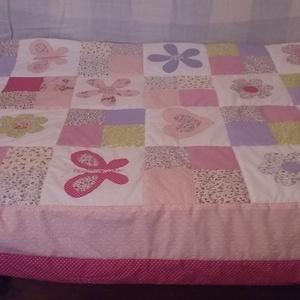 patchwork  ágytakaró, Ágytakaró, Lakástextil, Otthon & Lakás, Patchwork, foltvarrás, 90x 160 cm-es  a  rózsaszan- kék , rózsaszín - lila különböző árnyalataival készült patchwork ágy ta..., Meska