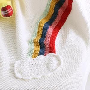 Kötött pamut takaró horgolt szivárvány mintával, Gyerek & játék, Baba-mama kellék, Gyerekszoba, Falvédő, takaró, Horgolás, Kötés, Nagy méretű kötött pamut takaró horgolt szivárvány és felhő mintával\nSzín: fehér\nMéret: 130 X 110 cm..., Meska