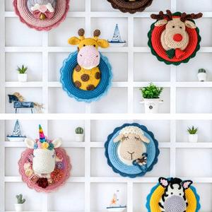 Horgolt állatfej trófeák/ gyermekszoba dekoráció/ fali dekor, Gyerek & játék, Baba-mama kellék, Gyerekszoba, Mobildísz, függődísz, Horgolás, Ezek a színes, csodaszép kézzel horgolt állatfej trófeák tökéletes kiegészítői a baba vagy gyermek s..., Meska