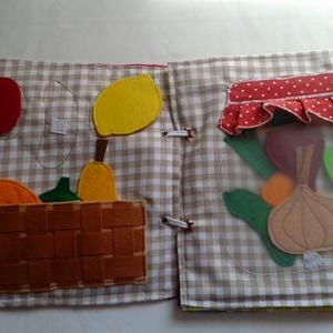 Szivárványok, virágok, gyümölcsök -  8 oldal, babakönyv, foglalakoztató, készségfejlesztő, csendeskönyv, Textilkönyv & Babakönyv, Játék & Gyerek, Patchwork, foltvarrás, Varrás, Textilkönyv, babakönyv, ineteraktív foglalakoztató és készségfejlesztő játék, csendeskönyv, filc ját..., Meska