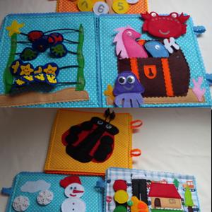 Névreszoló okosdoboz, csendeskönyv lapokból egy személyreszóló dobozban, összeválohgatható játék lapok (Babam) - Meska.hu