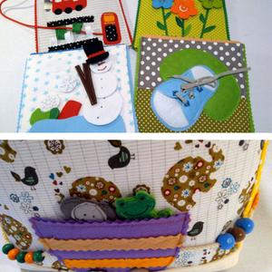 Okosdoboz, csendeskönyv lapokból, fiús öltöztetős babával, autókkal, állataokkal, betű kirakóssal (Babam) - Meska.hu