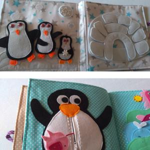 Baglyos, lajháros, pingvines extra nagy állatos matatós könyv, rengeteg pici kis állatos készségfejlesztő gyakorlattal - Meska.hu