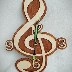 Violinkulcsos óra, Falióra & óra, Dekoráció, Otthon & Lakás, Famegmunkálás, Lézervágott technikával készült óra. Kiváló ajándék lehet zenét szeretőknek. A termék mérete 28,5*20..., Meska