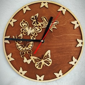 Lepkés óra, Otthon & lakás, Dekoráció, Dísz, Lakberendezés, Falióra, óra, Famegmunkálás, Lézervágott technikával készült óra. A termék átmérője 22 cm., Meska
