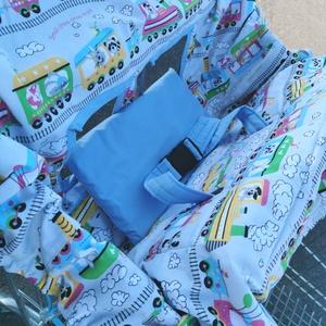 Bevásárlókocsi huzat övvel , Játék & Gyerek, 3 éves kor alattiaknak, Bevásárlókocsi huzat, Varrás, Bevásárlókocsi huzat körbe gumis, a gumik segítségével méretre beáítható, így bármilyen méretű bevás..., Meska