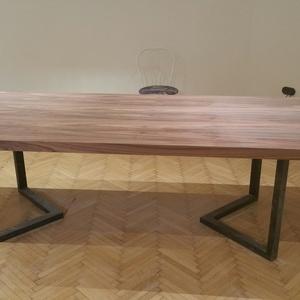 étkezőasztal, Bútor, Otthon & lakás, Asztal, Famegmunkálás, Fémmegmunkálás, Egy egyedi fémlábra szerelt furnéros asztal\nA képen 240x100x75  ös asztal látható\nVálasztható más fu..., Meska