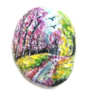 Kézzel festett őszi erdei kavics madarakkal, Művészet, Festmény, Akril, Festett tárgyak, \nAprólékosan kidolgozott Szívmelengető erdei sétát idéző kavics, ami látványával nyugalmat, meghitts..., Meska
