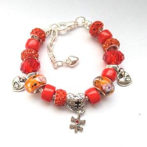 Piros - narancs szerelem Pandora stílusú charm karkötő Valentin napra - szív, szivecskés, love puzzle, Ékszer, Karkötő, Charm karkötő, Gyöngyfűzés, gyöngyhímzés, Meska
