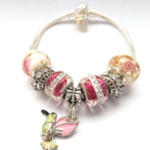 A boldogság madara - Vidám színpompás Pandora stílusú charm karkötő, Ékszer, Karkötő, Charm karkötő, Gyöngyfűzés, gyöngyhímzés, Meska