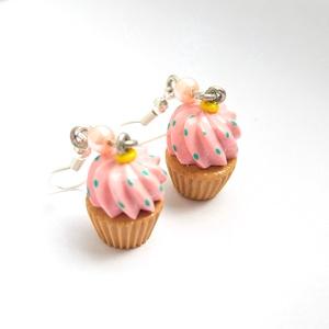 Epres áfonyás álom - muffin fülbevaló - rózsaszín, türkiz, kék , Ékszer, Fülbevaló, Lógó fülbevaló, Gyurma, Meska