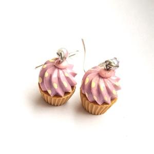 Málna fagyi - muffin fülbevaló - rózsaszín, lila, sárga - Meska.hu