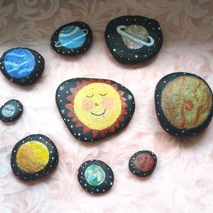 Kézzel festett nap körül keringő bolygós kavicsok - világűr, naprendszer, Játék & Gyerek, Készségfejlesztő & Logikai játék, Festett tárgyak, Meska