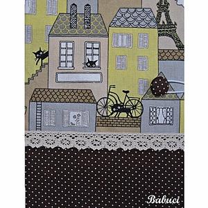 Párizsi macskák napló/emlékkönyv, Naptár, képeslap, album, Otthon & lakás, Jegyzetfüzet, napló, Varrás, Kemény kötésű, kb. 100 vonalas lapot tartalmazó napló/emlékkönyv. \nPöttyös és macskás mintájú patchw..., Meska