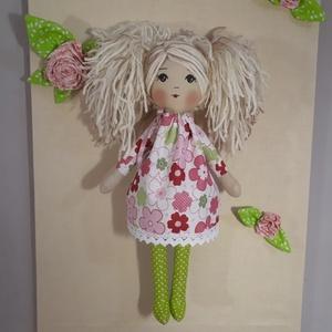 Bohócvirágos ruhájú szöszi, Gyerek & játék, Játék, Baba, babaház, Játékfigura, Baba-és bábkészítés, Ez a csodaszép baba 36 cm magas,szőke fonalhaja frizurázható.Vidám bohócvirágos ruhában van,ami leve..., Meska