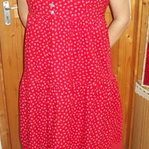 Piros mintás nyári vászon ruha (babujka) - Meska.hu