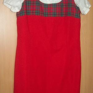 Piros ruha skótkockás tetejével - ruha & divat - női ruha - ruha - Meska.hu