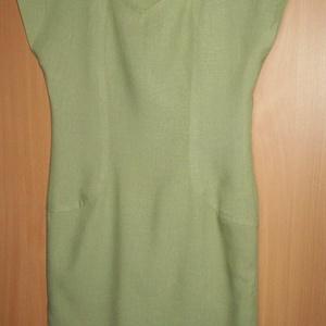 Zöld nyári vászonruha, Ruha, Női ruha, Ruha & Divat, Varrás, Halvány sárgás-zöld színű vászonanyagból készült ez a térd felett érő tubusruha.\n\nElején és hátán sz..., Meska