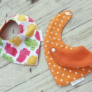 Nyálkendő, babasál, előke, 2 db, vizilovas-narancs pöttyös (BabyAngel) - Meska.hu