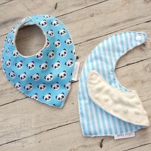 Nyálkendő, babasál, előke, 2 db, panda-kék (BabyAngel) - Meska.hu