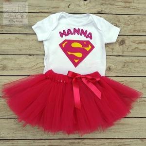 Szülinapi babaruha, Supergirl, pink, Ruha, Babaruha & Gyerekruha, Ruha & Divat, Varrás, Hímzés, Egyedi öltözet a nagy napra!\n\nKétrészes tütüs szett szülinapra, fotózáshoz:\n1. Fehér alapszínű, 100 ..., Meska