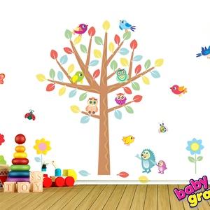 Bagoly és madár a nagy fán áthelyezhető falmatrica szett, Baba-mama-gyerek, Dekoráció, Gyerekszoba, Falmatrica, Fotó, grafika, rajz, illusztráció, Most már ÁTLÁTSZÓ vinilen is kapható!  Nagyon jó szórakozás egy nagy fa alatt játszani azok számára..., Meska