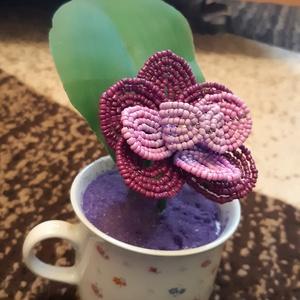 Orchidea csészében, Otthon & Lakás, Dekoráció, Asztaldísz, Gyöngyfűzés, gyöngyhímzés, Gyöngyből készült lila és rózsaszín orchidea csészében\nMagassága: 12 cm\n\nKiváló szoba dísz ablakba, ..., Meska