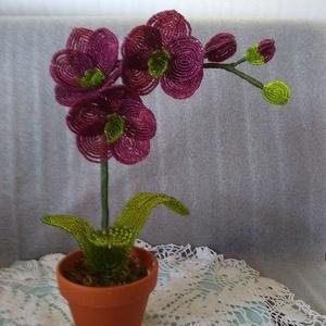 Virág gyöngyből , Csokor & Virágdísz, Dekoráció, Otthon & Lakás, Gyöngyfűzés, gyöngyhímzés, Az orchideát 2 mm-es kásagyöngyből fűztem.\nTeljes magassága 32 cm, a virágszirmok átmérője 7 cm. Mod..., Meska