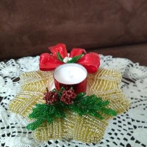 Karácsonyi mécses gyöngyből, Otthon & Lakás, Karácsony & Mikulás, Karácsonyi dekoráció, Gyöngyfűzés, gyöngyhímzés, A dísz alapját 2 mm-es kásagyöngy és drót felhasználásával egy kartonpapírra fontam meg, melynek átm..., Meska