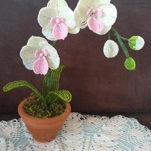 Virág gyöngyből, Csokor & Virágdísz, Dekoráció, Otthon & Lakás, Gyöngyfűzés, gyöngyhímzés, Az orchideát 2 mm-es kásagyöngy felhasználásával fűztem. 4 db virág, 3 db bimbó és 3 db levél  alkot..., Meska