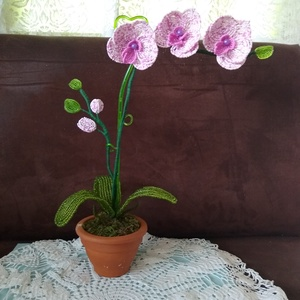 Orchidea gyöngyből, Otthon & lakás, Dekoráció, Lakberendezés, Asztaldísz, Gyöngyfűzés, gyöngyhímzés, A virágot 2 mm-es kásagyöngy felhasználásával fűztem. Két száron négy virág, egyenként  7 cm-esek és..., Meska