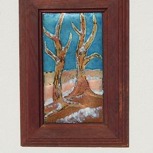 Tűzzománc kép, Művészet, Festmény vegyes technika, Festmény, Téli fákat ábrázoló tűzzománc kép sgrafitto technikával készült kép lemez tűzzománc festéssel. Egyed..., Meska