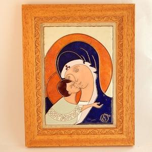 Tűzzománc ikon. Mária a gyermek Jézussal. tűzzománc kép (Bagika) - Meska.hu