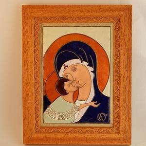 Tűzzománc ikon. Mária a gyermek Jézussal. tűzzománc kép, Művészet, Festmény vegyes technika, Festmény, tűzzománc ikon  Rekeszzománc technikával készült kép. Máriát ábrázolja a gyermek Jézussal.  Teljes m..., Meska