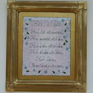 Házi áldás, Otthon & Lakás, Dekoráció, Kép & Falikép, Tűzzománc, Ötvös, Tűzzománc alapon kézzel hajtogatott rézszálakból íródtak a betűk. \nEgy régi tölgyfa keret foglalja k..., Meska