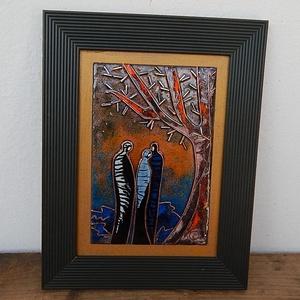 Tűzzománc kép , Otthon & Lakás, Kép & Falikép, Dekoráció, Évszakok - ősz  2019. Rekeszzománc technikával készült kép.  Keret: 17.5 cm x 22.5 cm képlemez: 10 c..., Meska