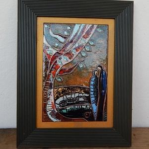 Tűzzománc kép , Otthon & Lakás, Kép & Falikép, Dekoráció, Évszakok - nyár  2019. Rekeszzománc technikával készült kép.  Keret: 17.5 cm x 22.5 cm képlemez: 10 ..., Meska