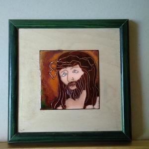 Tűzzománc kép Krisztus , Otthon & lakás, Dekoráció, Kép, Képzőművészet, Tűzzománc, Ötvös, A képen a szenvedő Krisztus látható.\nRekeszzománc technikával ékszerzománccal készült.\nMérete kerett..., Meska