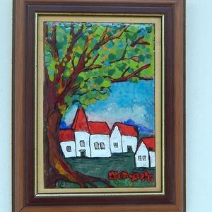 """Tűzzománc kép """"Alvég"""", Művészet, Festmény vegyes technika, Festmény,  tűzzománc  kép.   Régen a falunak volt alvége, és felvége.  Valahol középen volt a templom. A két f..., Meska"""