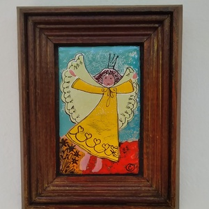 Tűzzománc kép, Angyalka, Művészet, Festmény vegyes technika, Festmény, Kedves, vidám angyalkás tűzzománc kép! Festő zománc technikával készített . Teljes mérete :14 cm x17..., Meska