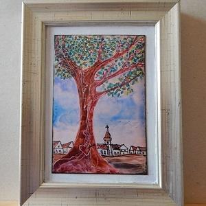 tűzzománc kép, Művészet, Festmény vegyes technika, Festmény, Szerelmesek fája c. tűzzománc kép  Romantikus téma, komoly megjelenítés.   teljes méret: 17 cm x 21 ..., Meska