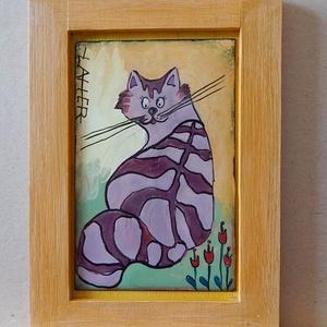 Tűzzoménc kép, Művészet, Festmény vegyes technika, Festmény, Kedves, vidám, színes, zománc kép ! Macskuszok, cicusok kedvelőinek ajánlom, ezt a bohókás, színes v..., Meska