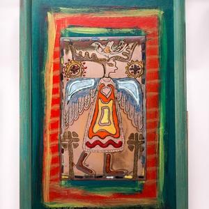 """tűzzománc kép, Művészet, Festmény, Festmény vegyes technika, Tűzzománc kép  """"Sámán utak l."""" képlemez mérete: 15 cm x 25 cm  A zománc kép körül színes, akrillal f..., Meska"""
