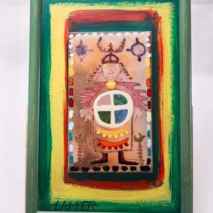 """tűzzománc kép, Művészet, Festmény, Festmény vegyes technika, Tűzzománc kép  """"Sámán utak ll."""" képlemez mérete: 15 cm x 25 cm  A zománc kép körül színes, akrillal ..., Meska"""